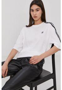 adidas Originals - T-shirt. Kolor: biały. Materiał: bawełna, dzianina. Wzór: gładki