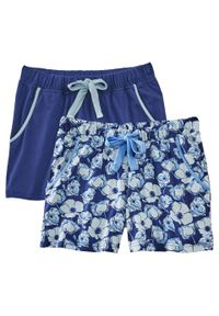 Szorty do spania (2 pary) bonprix niebieski w kwiaty + ciemnoniebieski