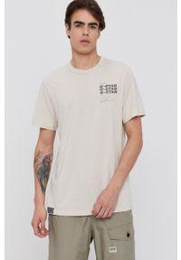 G-Star RAW - G-Star Raw - T-shirt. Okazja: na co dzień. Kolor: beżowy. Materiał: bawełna. Wzór: nadruk. Styl: casual