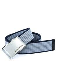 BRODRENE - Pasek męski do spodni parciany Brodrene P14S szaro-granatowy. Kolor: wielokolorowy, niebieski, szary. Materiał: jeans, skóra, materiał. Wzór: paski. Styl: elegancki