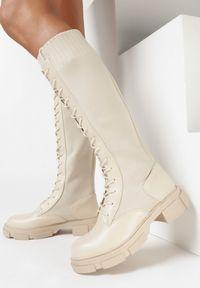 Born2be - Beżowe Kozaki Maisa. Wysokość cholewki: przed kolano. Nosek buta: okrągły. Zapięcie: bez zapięcia. Kolor: beżowy. Materiał: materiał. Szerokość cholewki: normalna. Obcas: na obcasie. Wysokość obcasa: średni