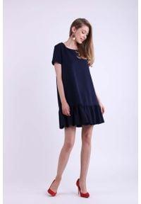 Nommo - Granatowa Mini Sukienka w Romantycznym Stylu. Kolor: niebieski. Materiał: wiskoza, poliester. Długość: mini