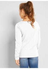 Shirt dziewczęcy z długim rękawem, bawełna organiczna bonprix biel wełny. Kolor: biały. Materiał: bawełna, wełna. Długość rękawa: długi rękaw. Długość: długie