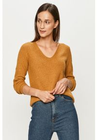 Złoty sweter Jacqueline de Yong z długim rękawem, casualowy, długi