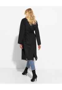 Ermanno Firenze - ERMANNO FIRENZE - Czarny wełniany płaszcz. Kolor: czarny. Materiał: wełna
