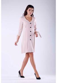 Nommo - Beżowa Żakietowa Sukienka z Wiązaniem przy Rękawach. Kolor: beżowy. Materiał: wiskoza, poliester