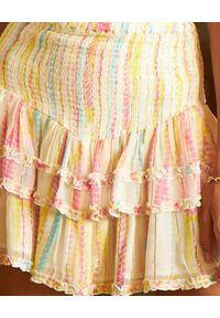 HEMANT & NANDITA - Pastelowa spódnica z falbanami. Stan: podwyższony. Kolor: niebieski. Materiał: materiał. Wzór: aplikacja. Sezon: lato