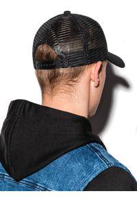 Ombre Clothing - Czapka męska z daszkiem H070 - czarna - uniwersalny. Kolor: czarny. Materiał: poliester