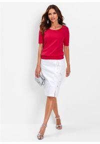 Czerwony sweter bonprix z krótkim rękawem, krótki