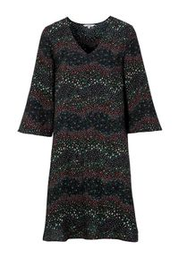 Cellbes Wzorzysta sukienka Czarny we wzory female czarny/ze wzorem 62/64. Typ kołnierza: dekolt w serek. Kolor: czarny. Typ sukienki: rozkloszowane