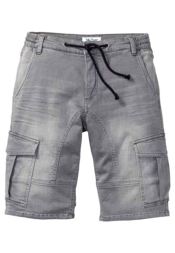 Bermudy dżinsowe ze stretchem Regular Fit bonprix jasnoszary denim. Kolor: szary