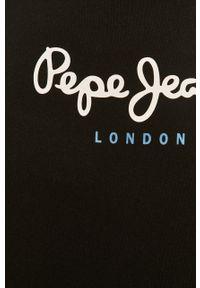Czarny t-shirt Pepe Jeans z nadrukiem, z okrągłym kołnierzem