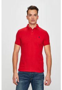 Polo Ralph Lauren - Polo. Typ kołnierza: polo. Kolor: czerwony. Materiał: materiał. Długość: krótkie. Wzór: gładki
