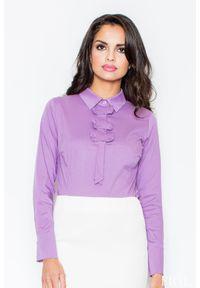 Fioletowa bluzka z długim rękawem Figl elegancka