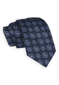 Granatowo-Niebieski Elegancki Krawat -Angelo di Monti- 7 cm, Męski, w Kwiatki, Wzór Florystyczny. Kolor: niebieski. Wzór: kwiaty. Styl: elegancki