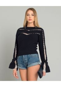 SELF PORTRAIT - Sweter z koronką. Okazja: na co dzień. Kolor: niebieski. Materiał: koronka. Długość rękawa: długi rękaw. Długość: długie. Wzór: koronka. Styl: casual