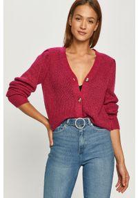 Różowy sweter rozpinany Jacqueline de Yong na co dzień, casualowy