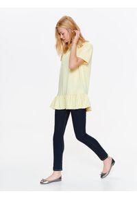 Żółty t-shirt DRYWASH z krótkim rękawem, na lato, casualowy