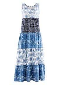 Długa sukienka bawełniana z dżerseju bonprix indygo z nadrukiem. Kolor: niebieski. Materiał: bawełna, jersey. Wzór: nadruk. Długość: maxi