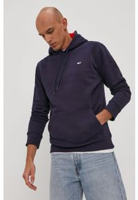 Niebieska bluza nierozpinana Tommy Jeans z kapturem, z aplikacjami