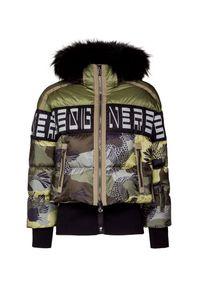 Zielona kurtka narciarska Bogner z nadrukiem, krótka, z kontrastowym kołnierzykiem