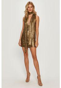 Złota sukienka Pepe Jeans na co dzień, casualowa, bez rękawów, mini