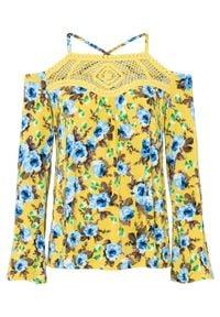Shirt z szydełkową koronką bonprix żółto-niebieski w kwiaty. Kolor: żółty. Materiał: koronka. Wzór: kwiaty, koronka