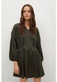 mango - Mango - Sukienka RIMEL. Kolor: zielony. Materiał: dzianina. Długość rękawa: długi rękaw. Typ sukienki: rozkloszowane