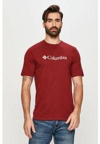 Brązowy t-shirt columbia casualowy, z nadrukiem, na co dzień