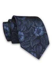 Alties - Granatowo-Niebieski Elegancki Męski Krawat -ALTIES- 7cm, Stylowy, Klasyczny, w Kwiaty, Florystyczny. Kolor: niebieski. Materiał: tkanina. Wzór: kwiaty. Styl: klasyczny, elegancki