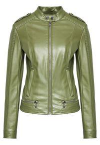 Guess Kurtka skórzana W1GL17 WDTZ0 Zielony Regular Fit. Kolor: zielony. Materiał: skóra