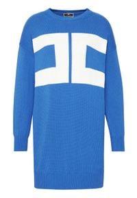 Elisabetta Franchi Sukienka dzianinowa AM-95T-11E2-V300 Niebieski Regular Fit. Kolor: niebieski. Materiał: dzianina