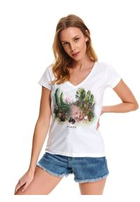 Biały t-shirt DRYWASH klasyczny, z krótkim rękawem