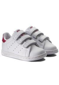 Białe półbuty Adidas na spacer, na rzepy
