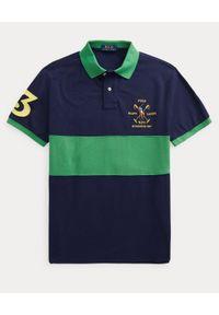 Ralph Lauren - RALPH LAUREN - Granatowo-zielona koszulka polo Custom Slim FIt. Typ kołnierza: polo. Kolor: niebieski. Materiał: bawełna. Długość: długie. Wzór: haft, aplikacja. Styl: sportowy #4