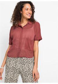 Prześwitująca bluzka z krótkim rękawem z poliestru z recyklingu bonprix brązowy marsala. Kolor: czerwony. Materiał: poliester. Długość rękawa: krótki rękaw. Długość: krótkie