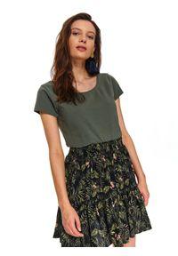 TOP SECRET - T-shirt krótki rękaw damski gładki. Kolor: zielony. Długość rękawa: krótki rękaw. Długość: krótkie. Wzór: gładki. Sezon: wiosna, lato. Styl: klasyczny