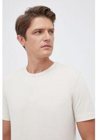 BOSS - Boss - T-shirt bawełniany Boss Athleisure. Okazja: na co dzień. Kolor: beżowy. Materiał: bawełna. Wzór: gładki. Styl: casual