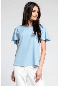 Nommo - Niebieska Pudełkowa Bluzka z Finezyjnymi Rękawami. Kolor: niebieski. Materiał: wiskoza, poliester