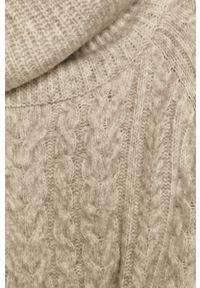 Szary sweter medicine raglanowy rękaw, z golfem