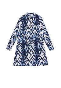 Niebieska sukienka MOODO z nadrukiem, prosta
