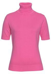 Sweter z golfem, krótki rękaw bonprix różowy. Typ kołnierza: golf. Kolor: różowy. Długość rękawa: krótki rękaw. Długość: krótkie. Styl: klasyczny