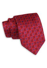 Czerwony Klasyczny Szeroki Krawat w Koła -Angelo di Monti- 7 cm, Męski, Elegancki, Geometryczny. Kolor: niebieski, czerwony, wielokolorowy. Wzór: geometria. Styl: klasyczny, elegancki