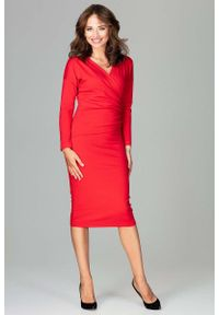 Czerwona sukienka Katrus elegancka, z kopertowym dekoltem, kopertowa