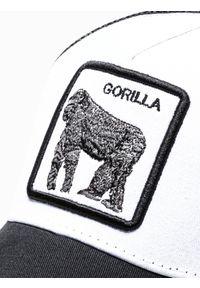 Ombre Clothing - Czapka męska z daszkiem H080 - biała - uniwersalny. Kolor: biały. Materiał: poliester