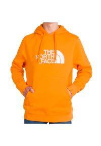 Pomarańczowa bluza The North Face z kapturem, z długim rękawem, długa