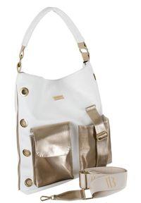 Shopper damski biało-złoty z nitami Badura T_D152BI/ZŁ_CD. Kolor: biały, wielokolorowy, złoty. Materiał: skórzane
