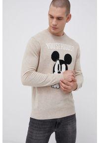 Mc2 Saint Barth - MC2 Saint Barth - Sweter wełniany x Disney. Okazja: na co dzień. Kolor: beżowy. Materiał: wełna. Długość rękawa: długi rękaw. Długość: długie. Wzór: motyw z bajki. Styl: casual