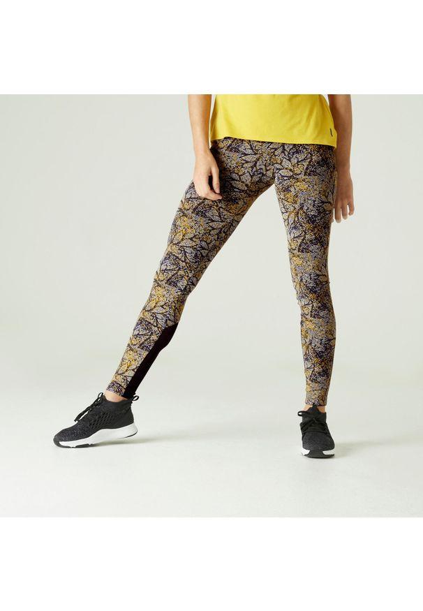 NYAMBA - Legginsy fitness Slim 500. Kolor: żółty. Materiał: poliester, materiał, bawełna, elastan. Wzór: ze splotem. Sport: fitness
