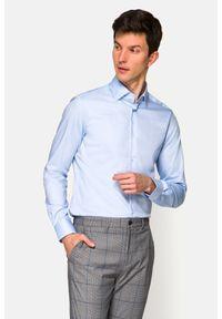 Lancerto - Koszula Błękitna Cameron. Kolor: niebieski. Materiał: bawełna, jeans, tkanina, wełna. Wzór: ze splotem, geometria